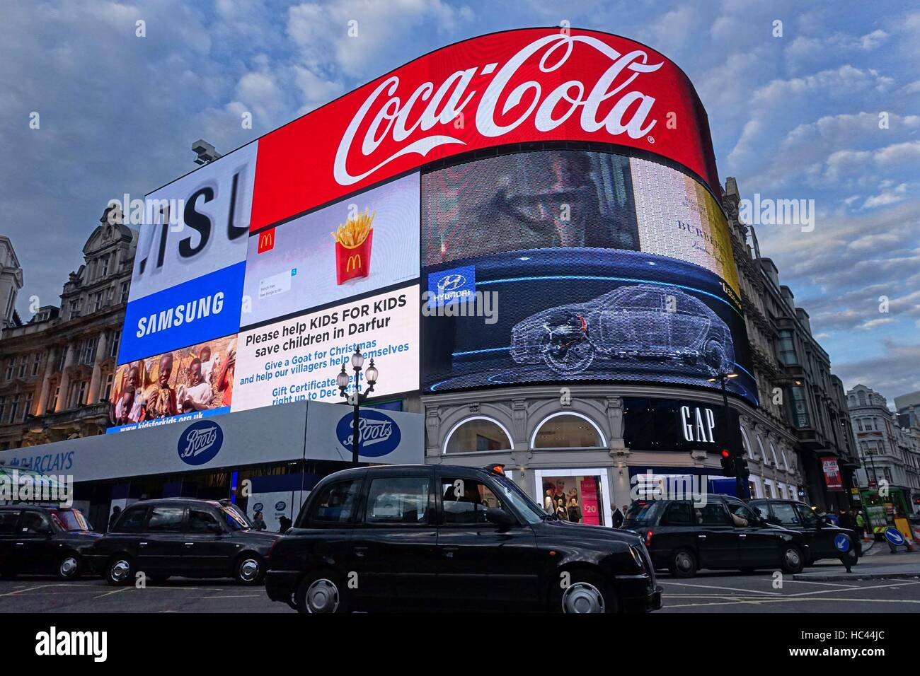 7th December 2016, London UK. The famous electronic advertising hoardings in Piccadilly Circus are to be be given Stock Photo