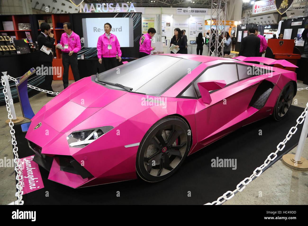 Tokyo Japan 8th Dec 2016 Cardboard Made Lamborghini Aventador