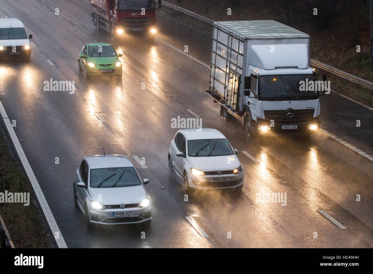 Torrential Rain, M6 Preston, 8th Dec 2016: UK WEATHER.  After a night of torrential downpours over the north west Stock Photo