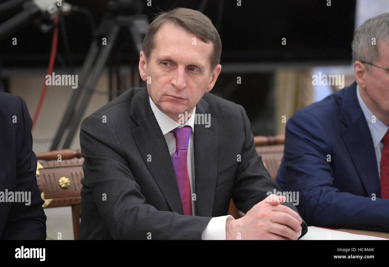 Moscow, Russia. 07th Dec, 2016. Russian Director of the Foreign Intelligence Service Sergei Naryshkin during a meeting - Stock Image