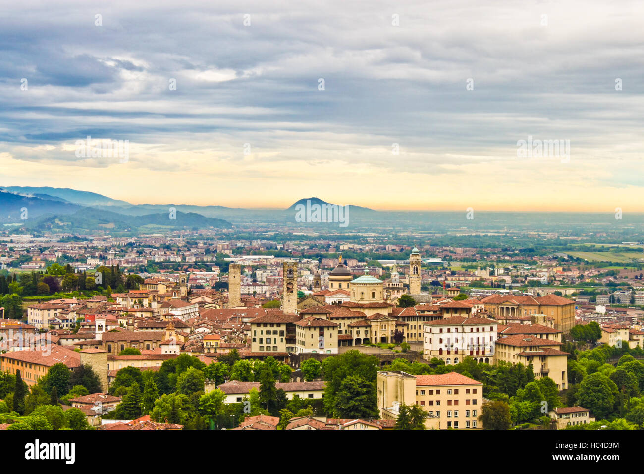 View of Bergamo, Italy at the sunset Stock Photo