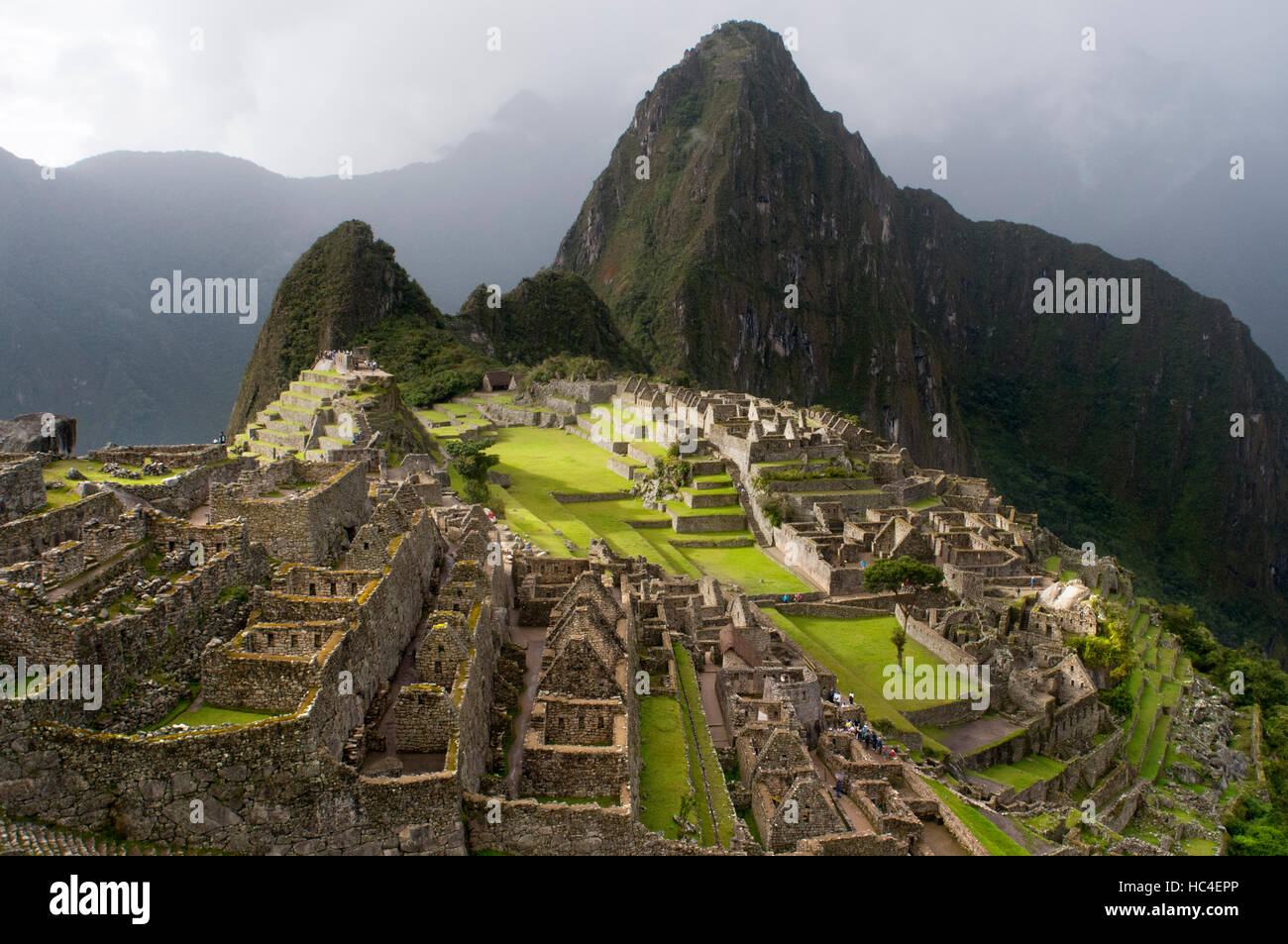 Inside the archaeological complex of Machu Picchu. Machu Picchu is a city located high in the Andes Mountains in - Stock Image