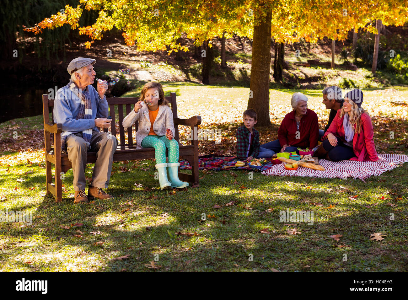 Family picnicking and the grandfather playing with his grand daughter - Stock Image