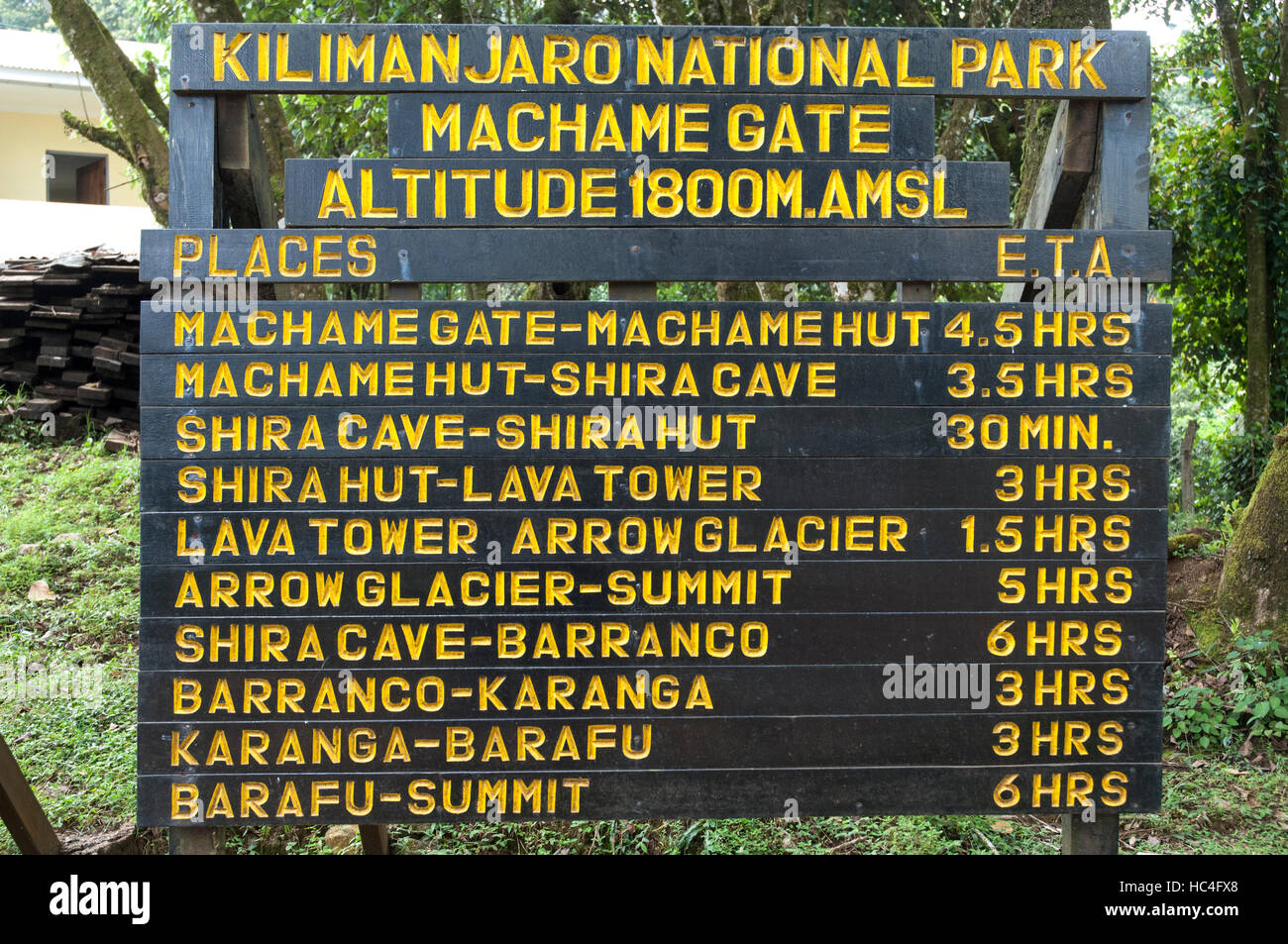 Signpost showing walking distances and time at the entrance of Machame Route, Kilimanjaro, Tanzania - Stock Image