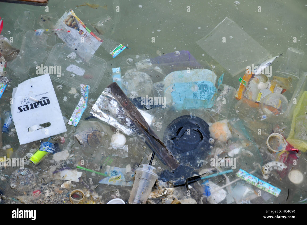 Polluted dirty water - oil, household debris, drift wood and plastic flout in a polluted body of water. Photographed - Stock Image