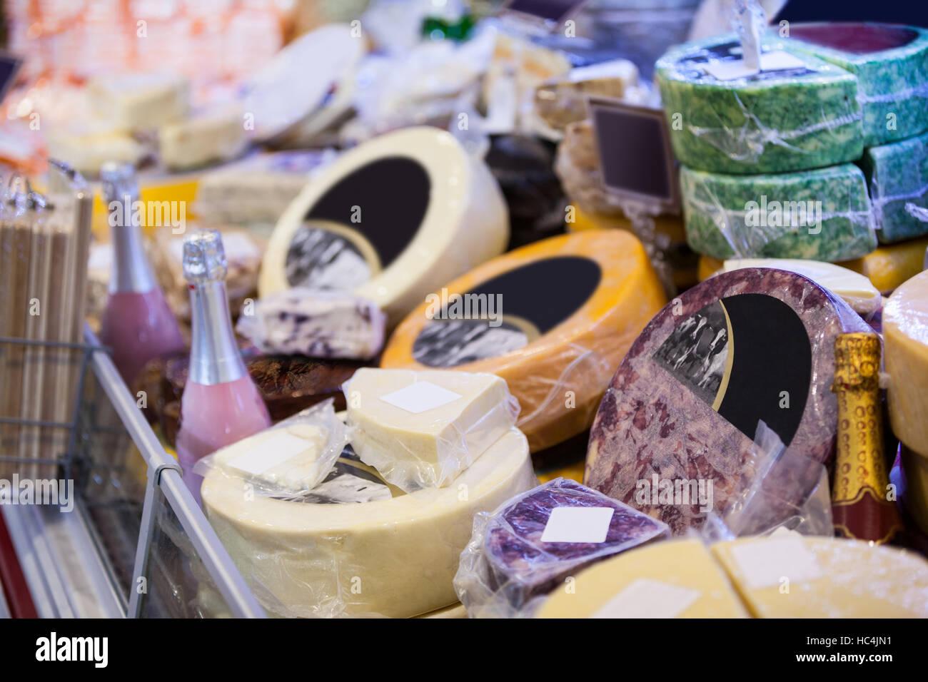 Variation of dessert in supermarket - Stock Image