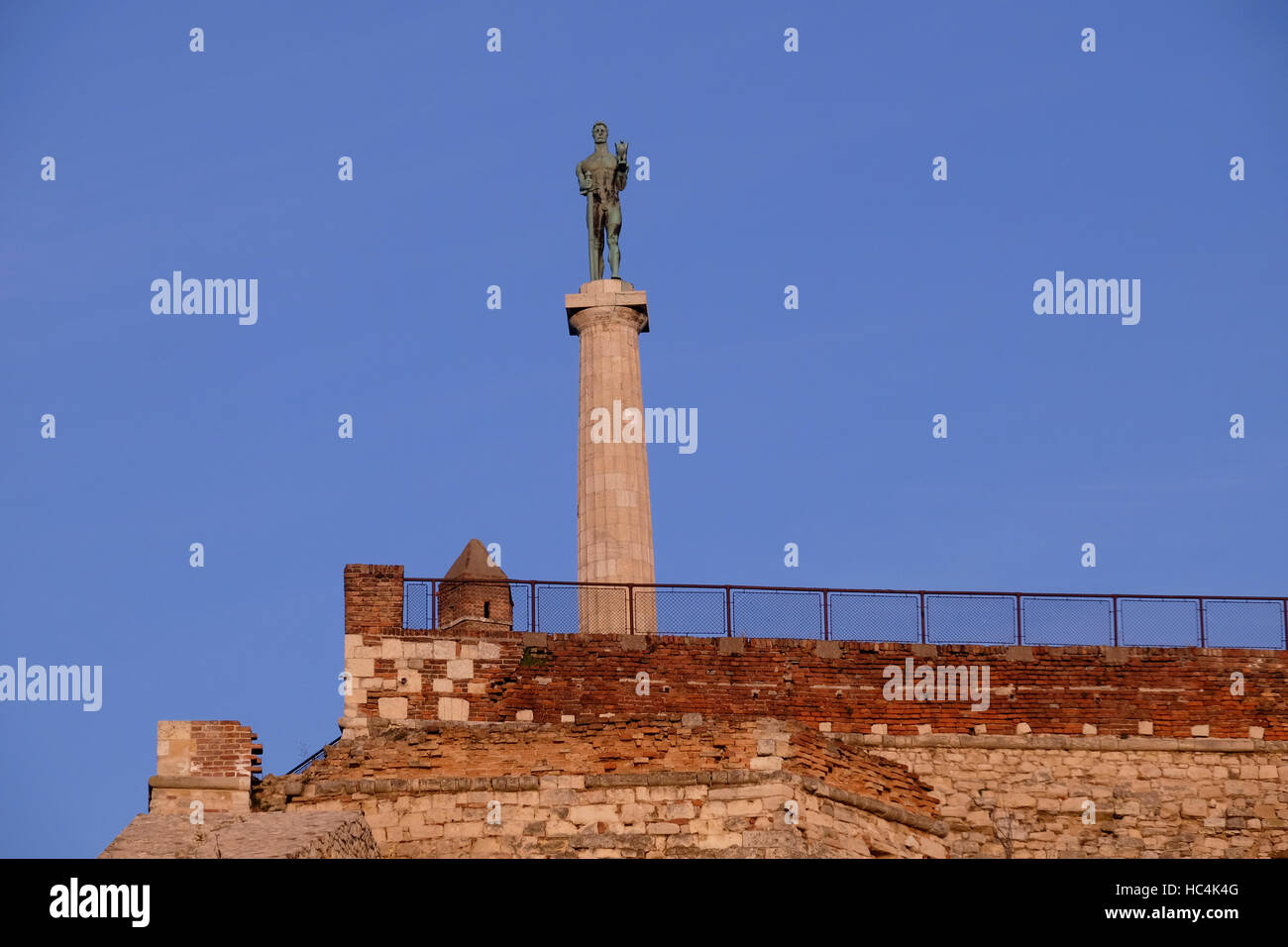 View of the Pobednik monument or the Statue of Victor by Ivan Mestrovic set up in 1928 to commemorate Serbia's - Stock Image
