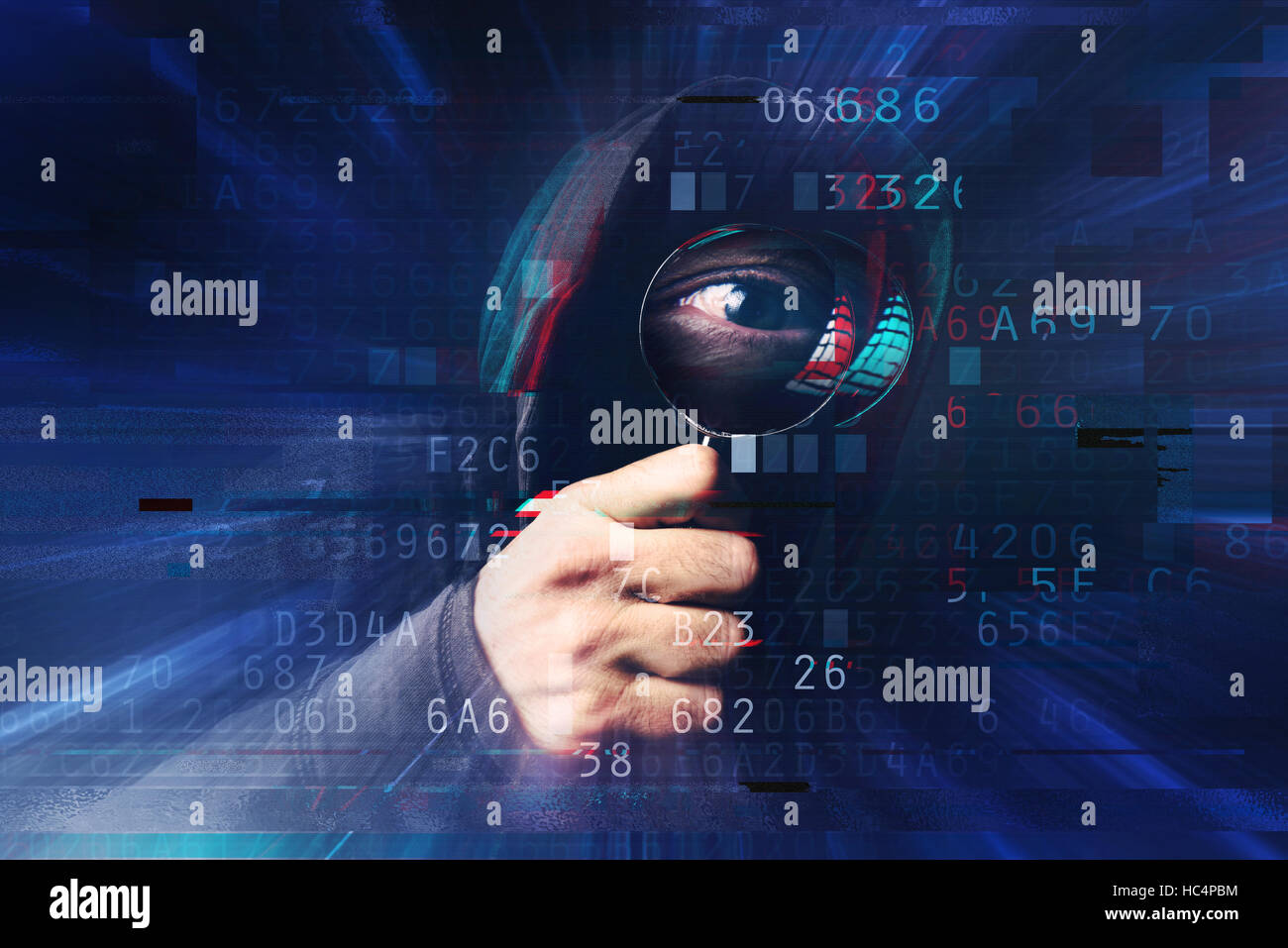 Spyware and ransomware concept with digital glitch effect, spooky hooded hacker with magnifying glass stealing online - Stock Image