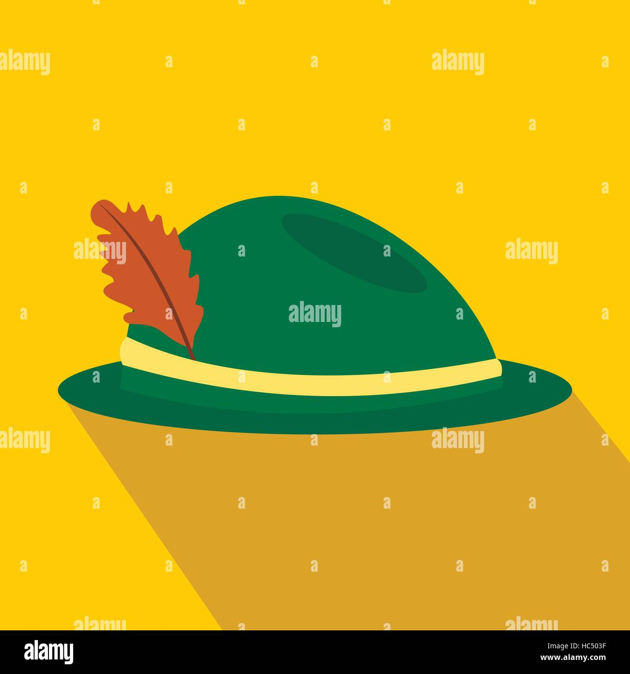 Green hat with a feather flat icon - Stock Image