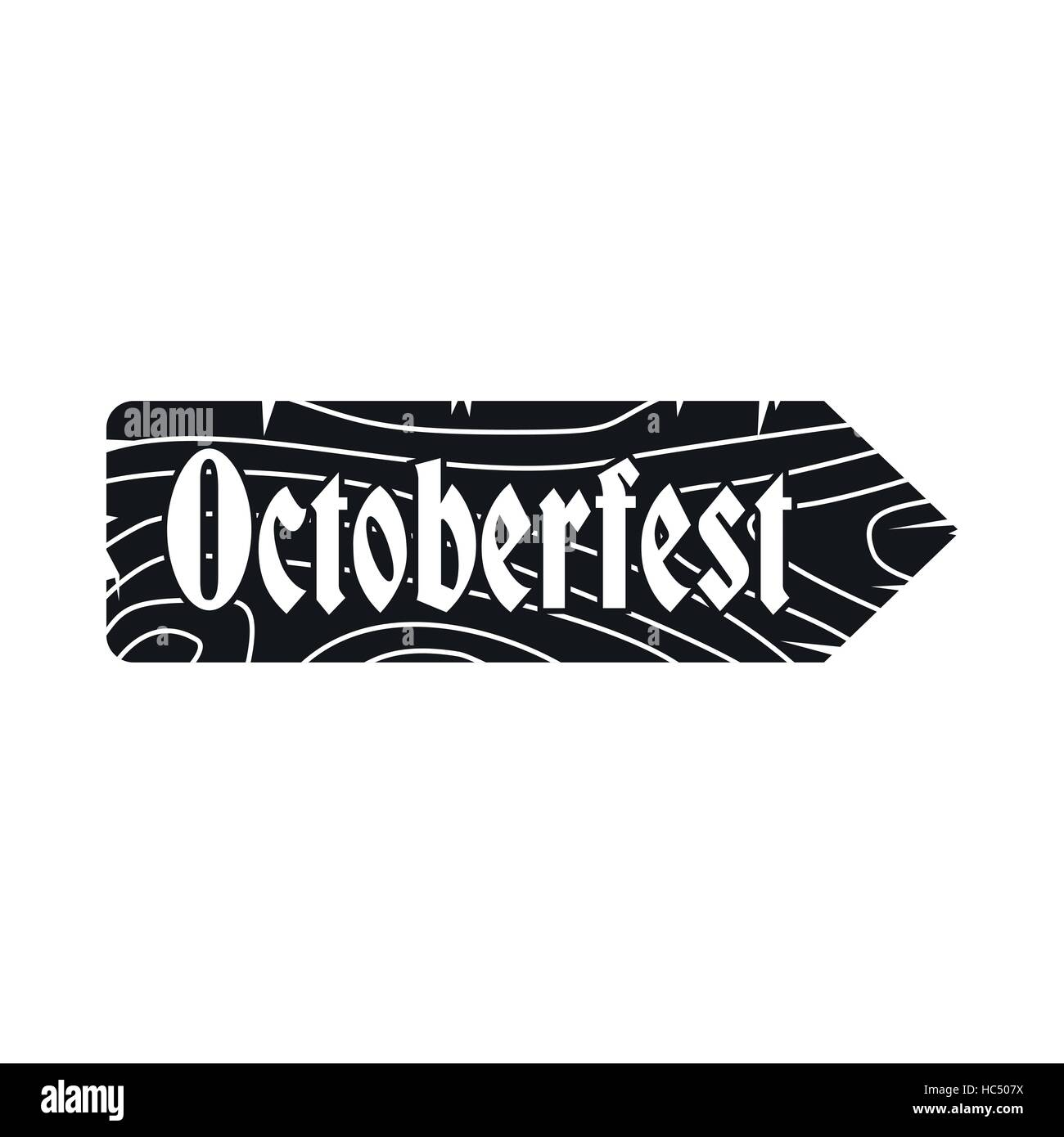 Oktoberfest road wooden sign icon - Stock Image