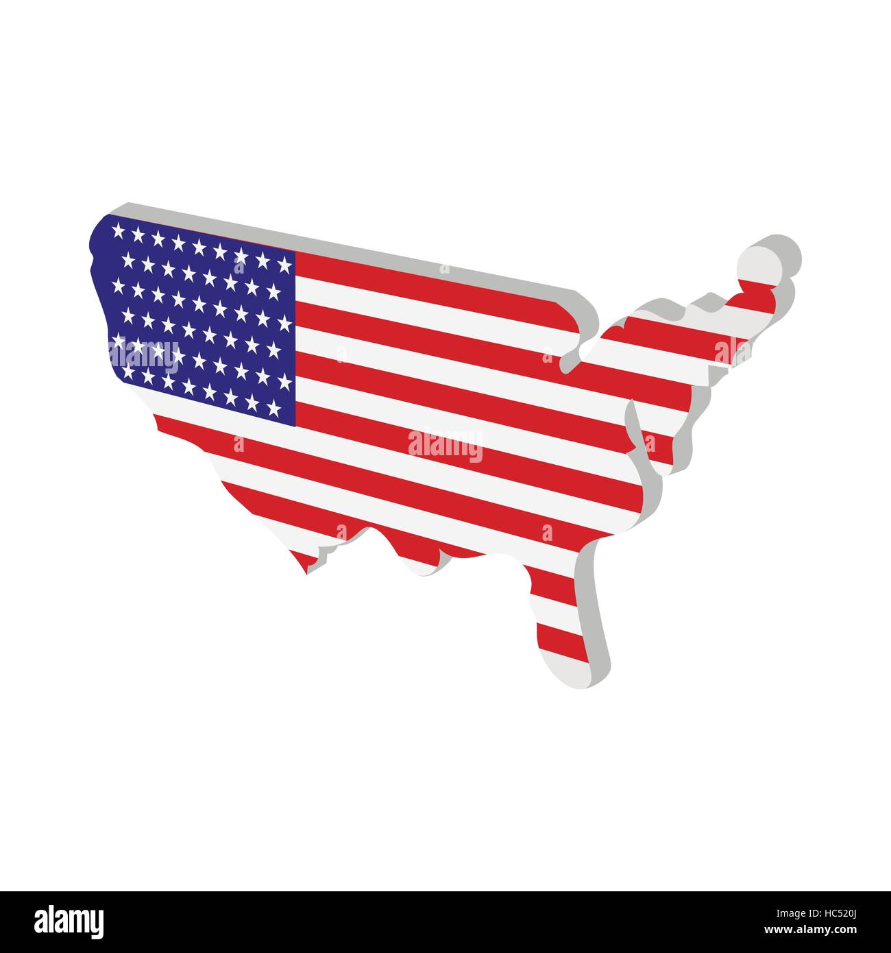 USA map with american flag texture cartoon icon Stock Vector Art ...
