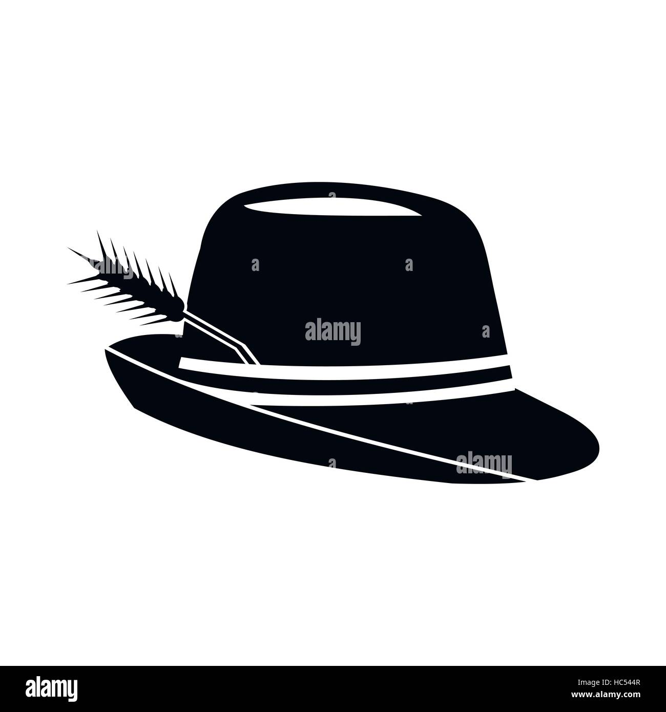 Hat with a feather icon, simple style - Stock Image