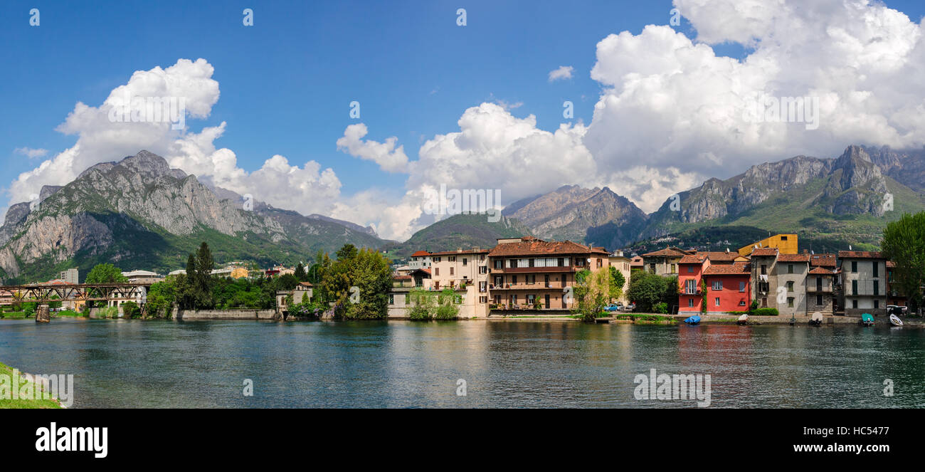 Pescarenico old village and river Adda (Lecco) Stock Photo