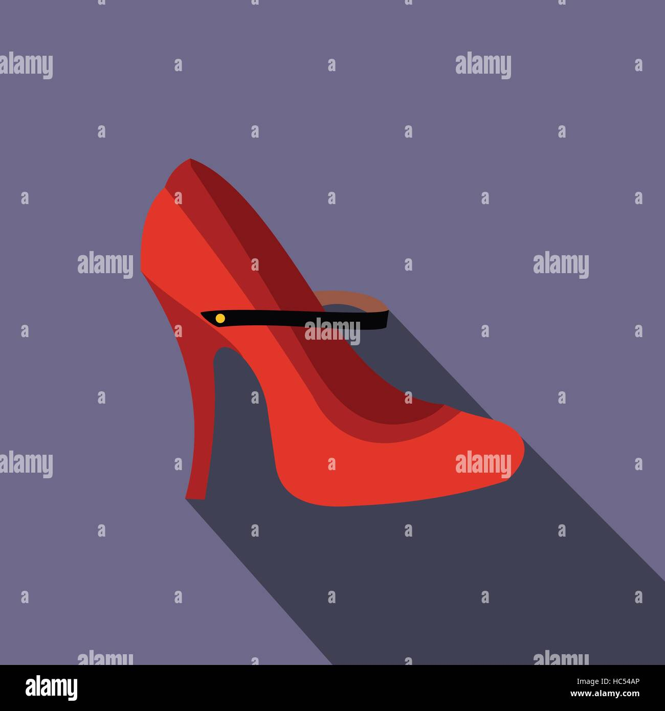 Red high heel shoes icon, flat style - Stock Vector