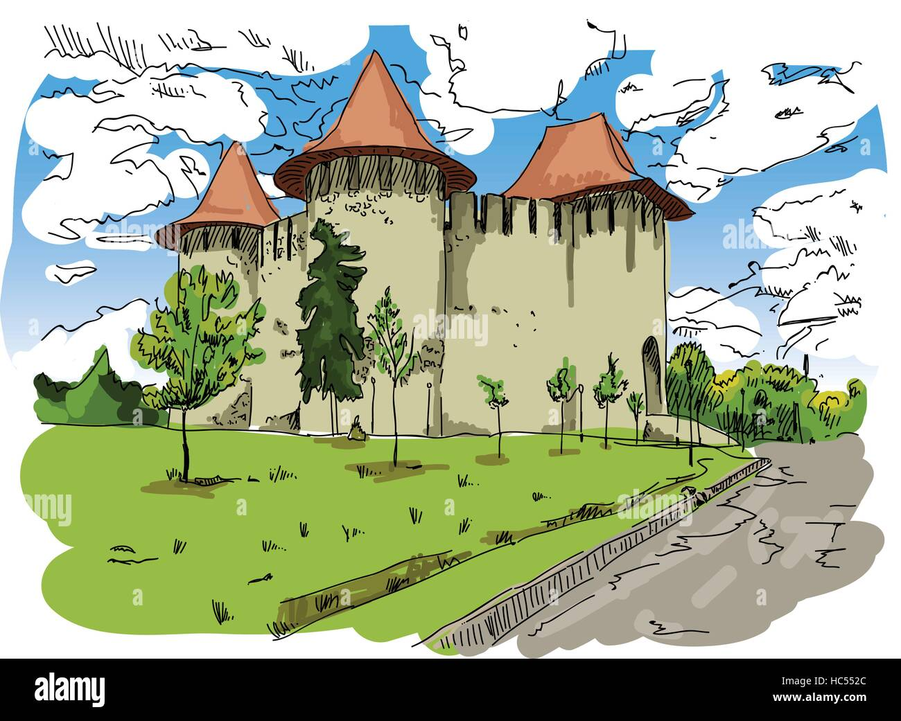 Digital vector painted Soroca Castle in Moldova with blue sky, flat style - Stock Vector