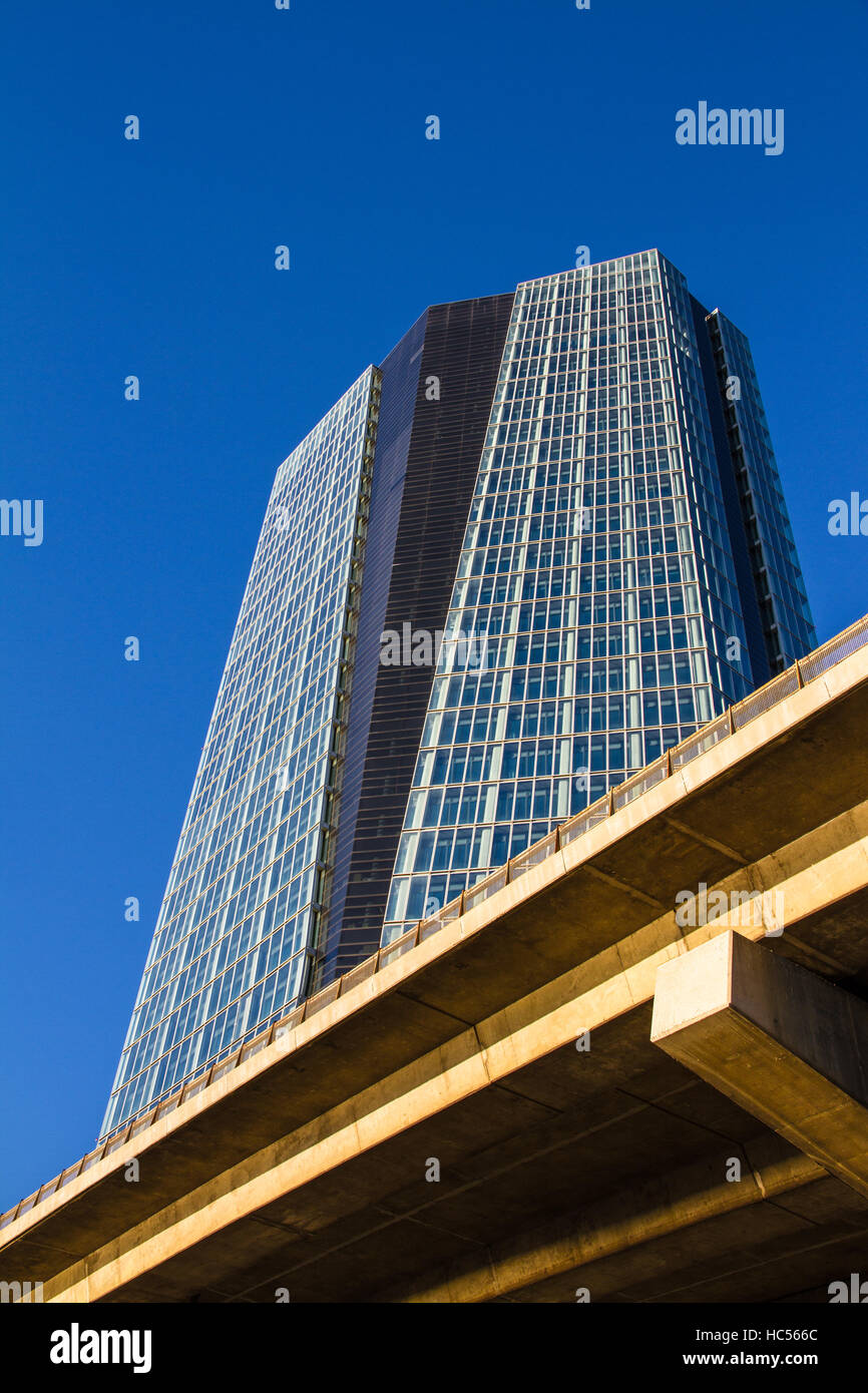 Marseille, France - September 20, 2015: The CMA CGM Tower  in the Euromediterranee district at sunset - Stock Image