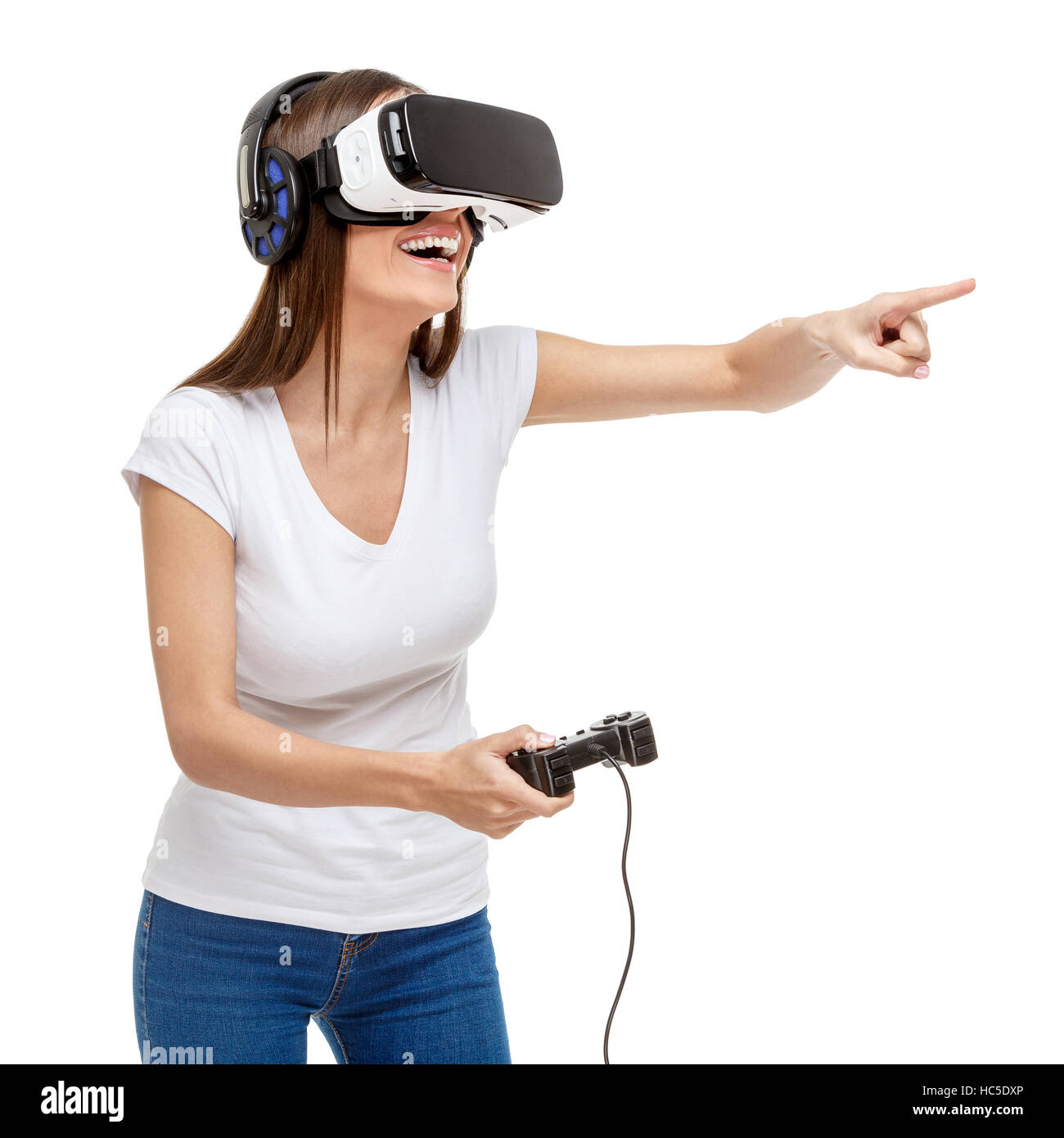 Woman with virtual reality goggles - Stock Image