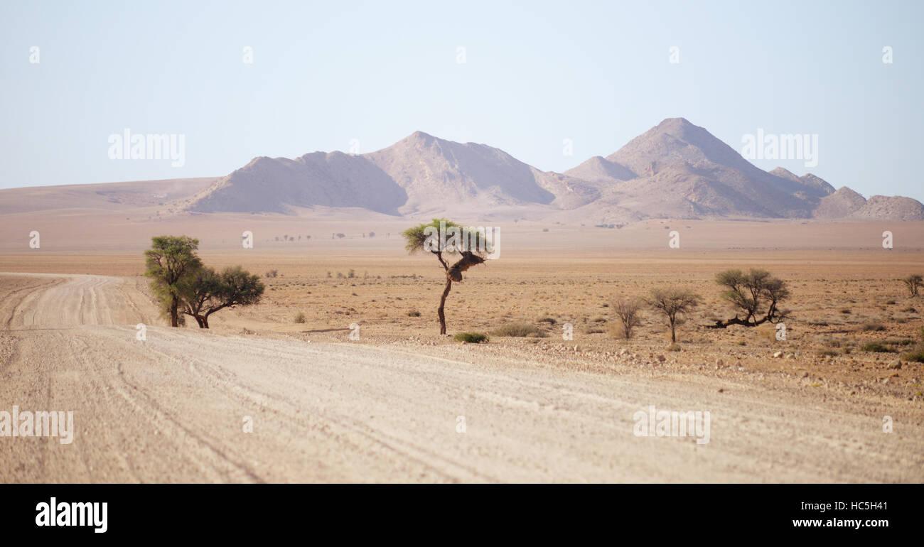 gravel road in Namibia - Stock Image