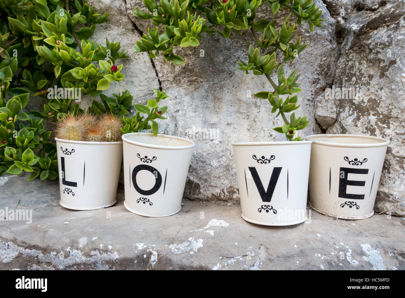 tins or cans spelling the word 'love' - Stock Image