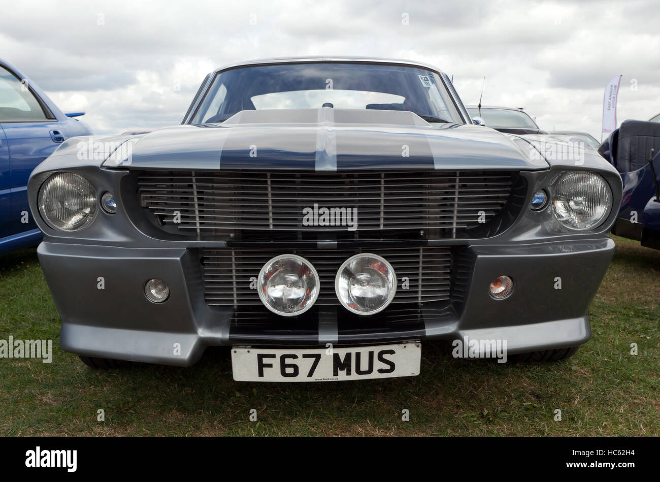 Front view of a Ford GT500 Shelby Mustang on display in a  Car Club Zone of the 2016 Silverstone Classic - Stock Image