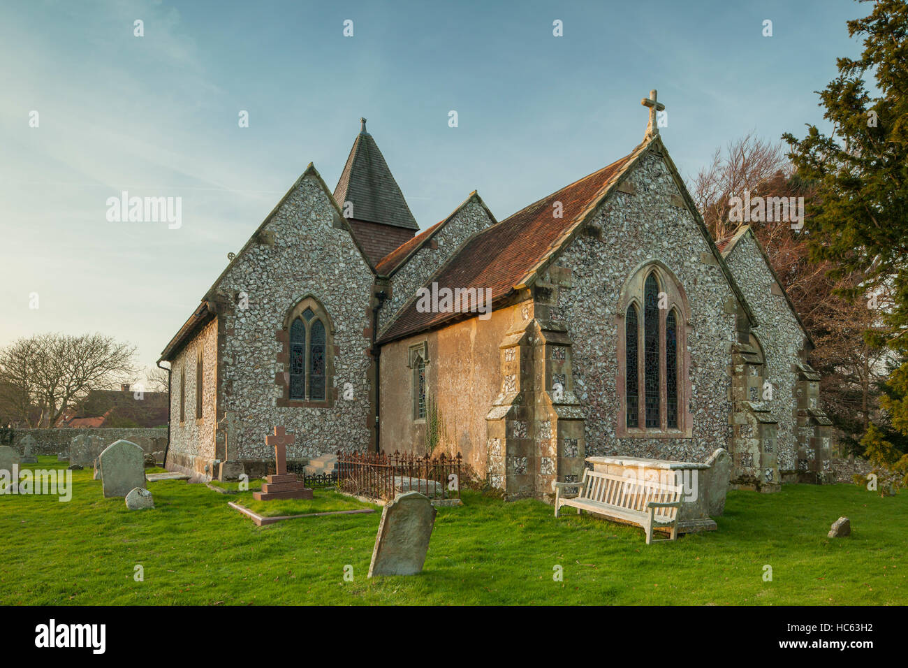 Winter afternoon at Clayton village church, West Sussex, England. - Stock Image