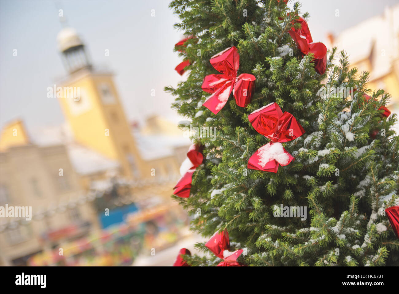 Large outdoor Christmas tree in Rybnik Poland Stock Photo