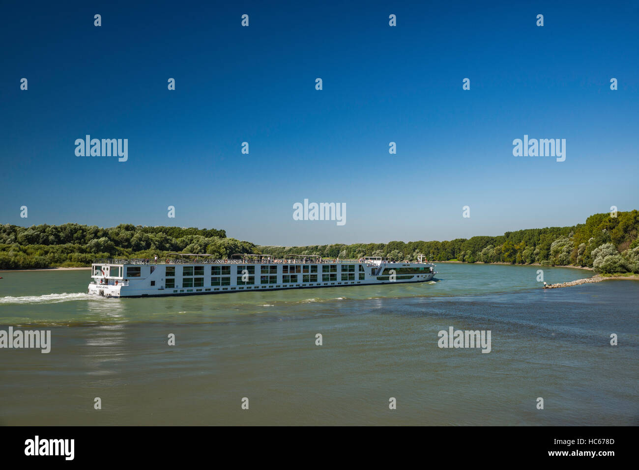 Scenic Jewel river cruise ship, registered in Valletta, Malta, on Danube river, at confluence with Morava, near Stock Photo