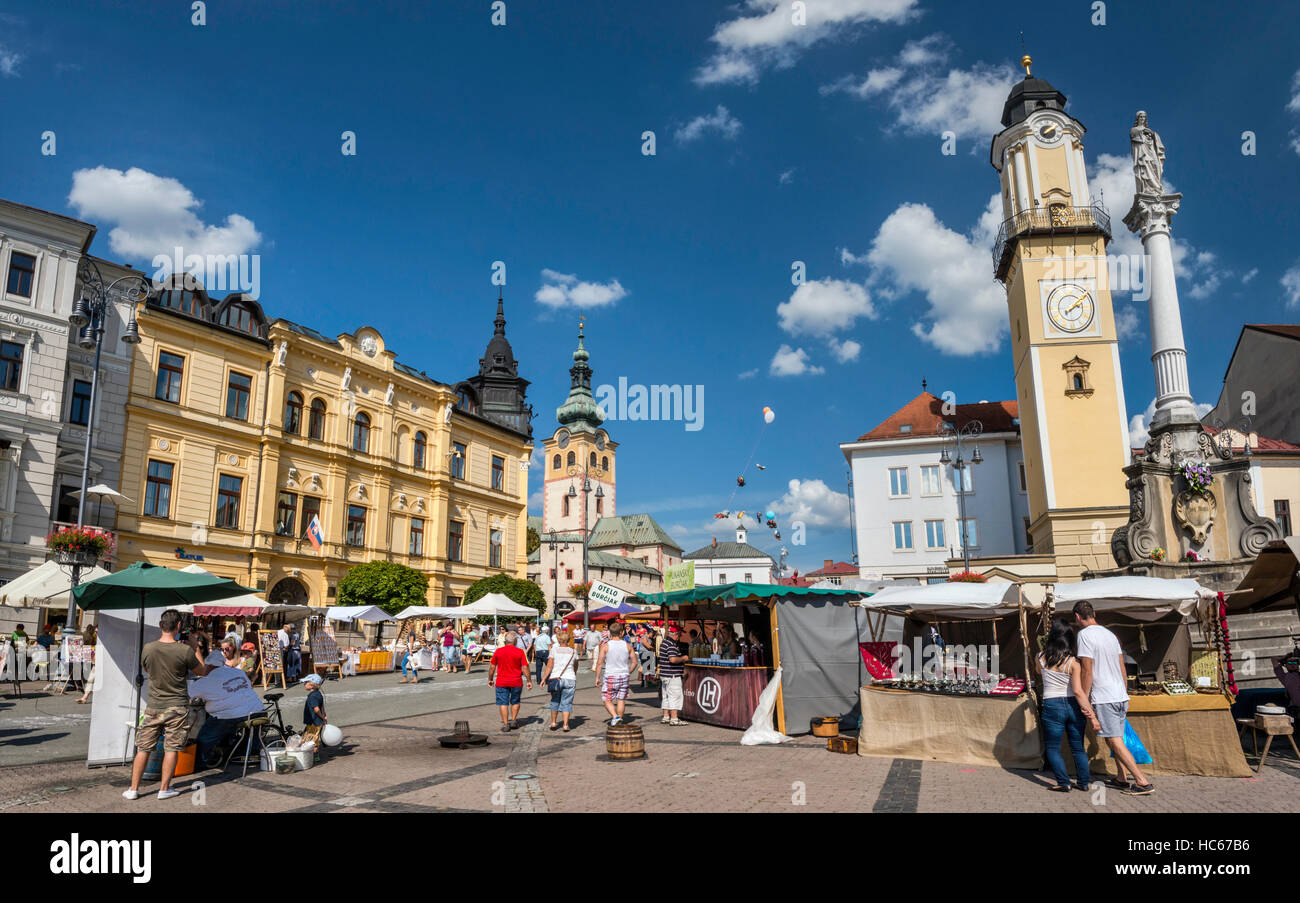 Street fair at Namestie SNP, Clock Tower, 1552, in Banska Bystrica, Slovakia - Stock Image