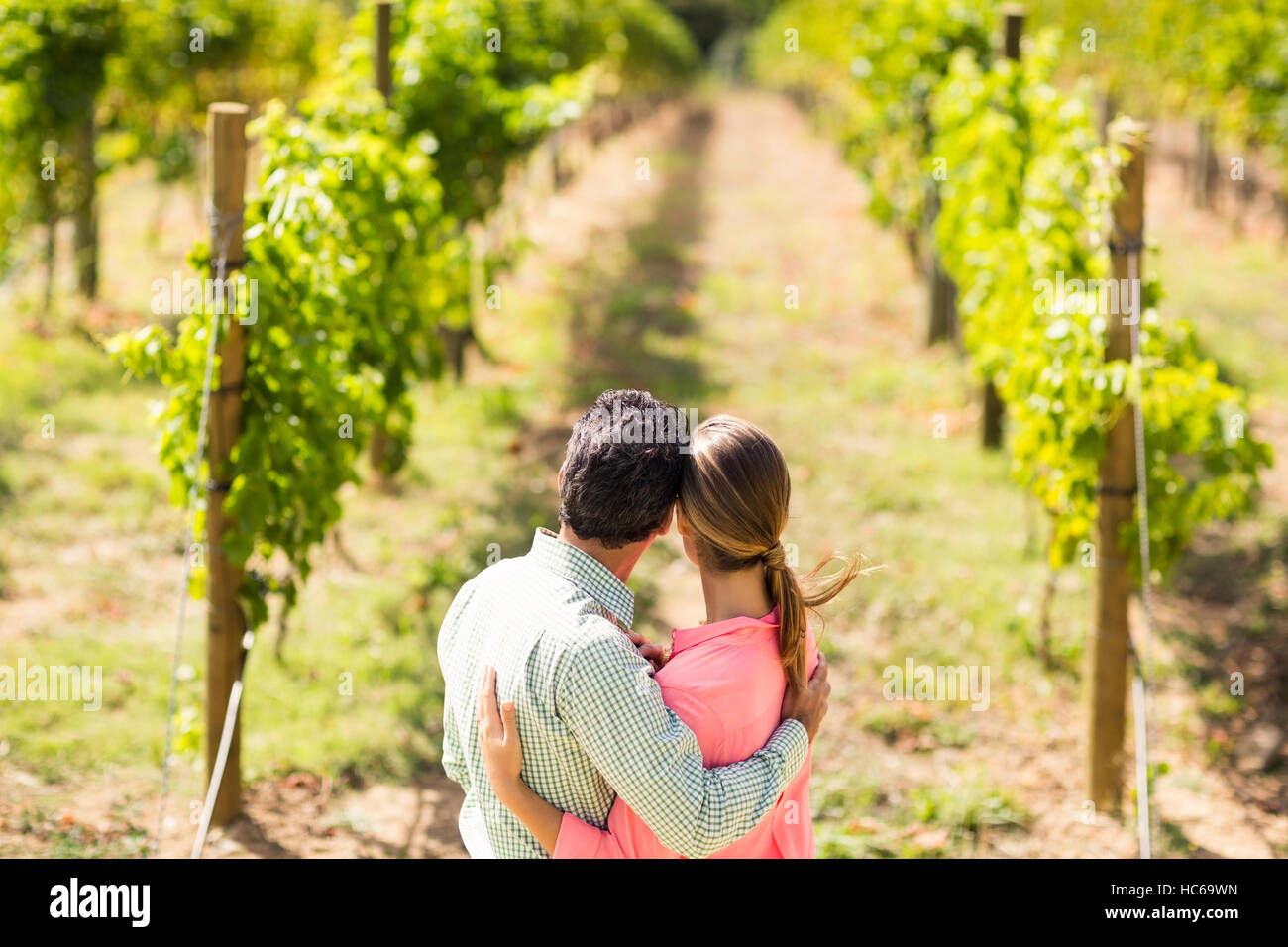 Couple standing with arm around and looking at nature - Stock Image