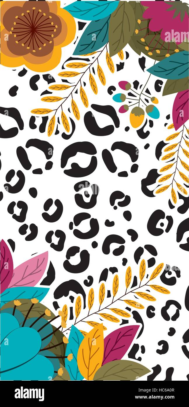 Animal Print With Tropical Flowers Icon Pattern Wallpaper