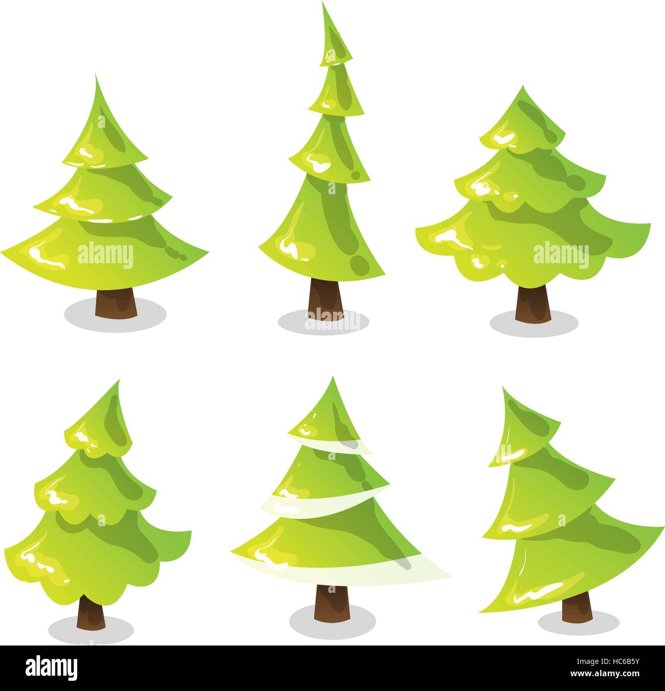 Christmas Tree Vector Image.Christmas Tree Set Abstract Stylized Trees Vector