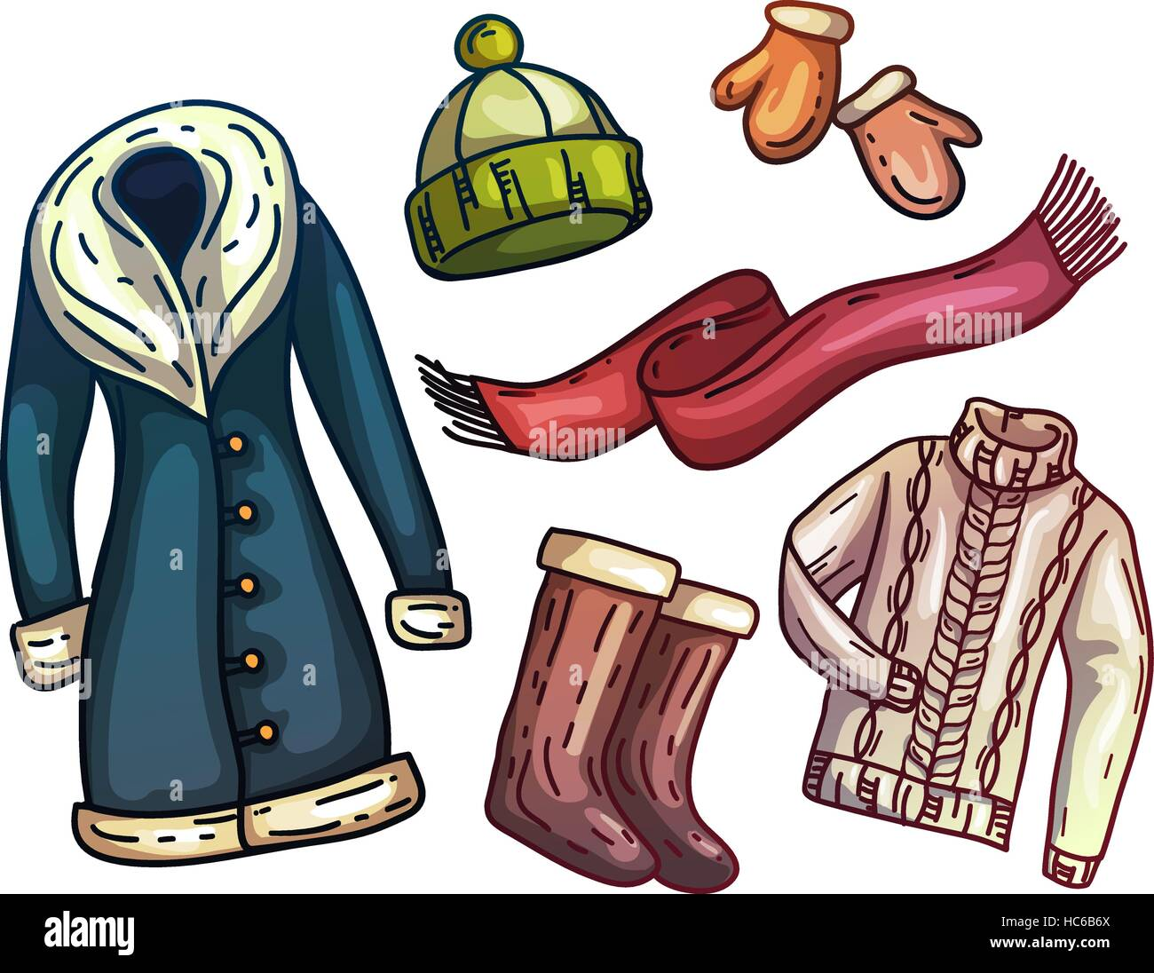 Set of warm winter clothes and accessories Fashionable set clothes