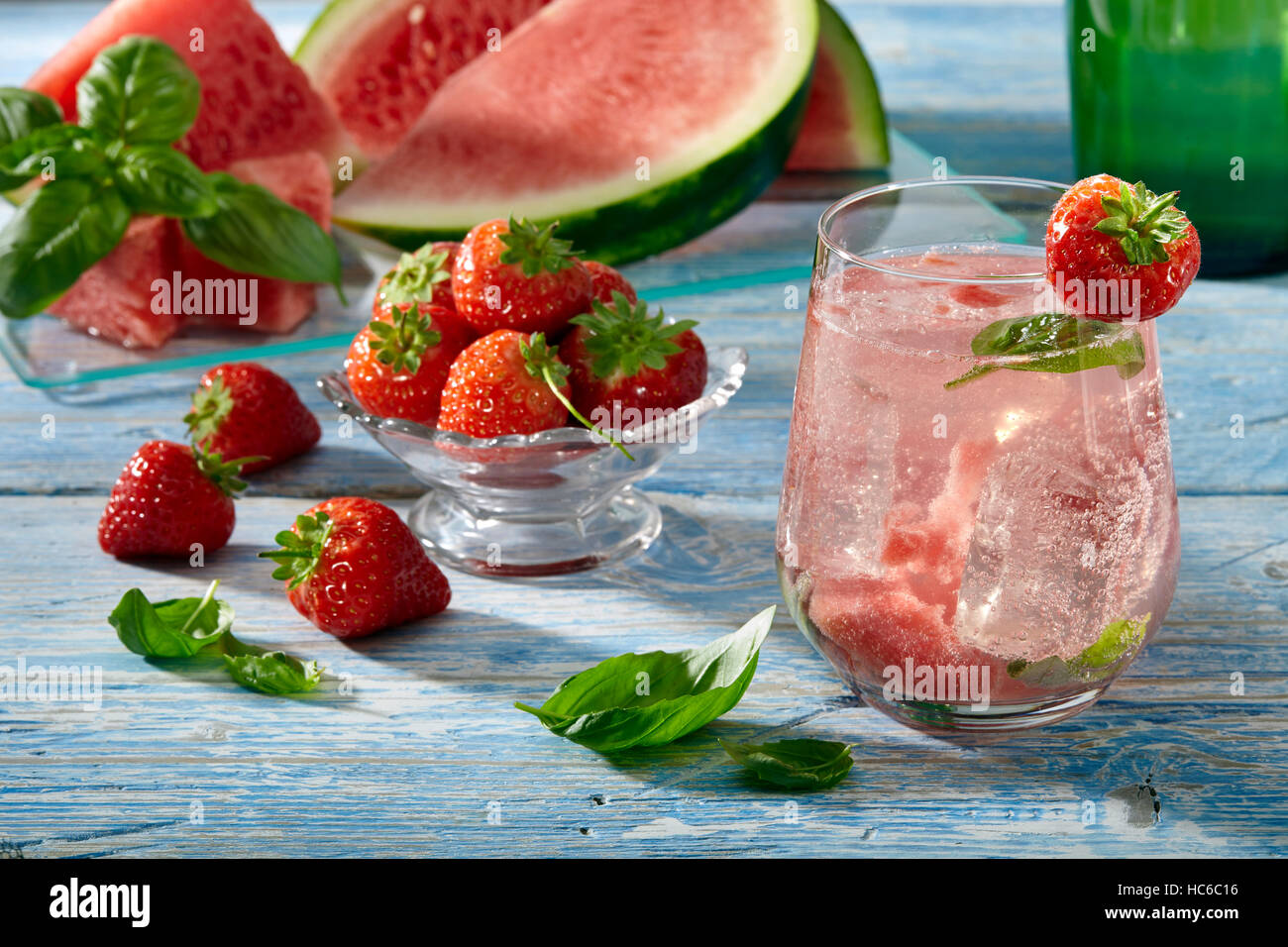 Watermelon aqua fresca beverage - Stock Image