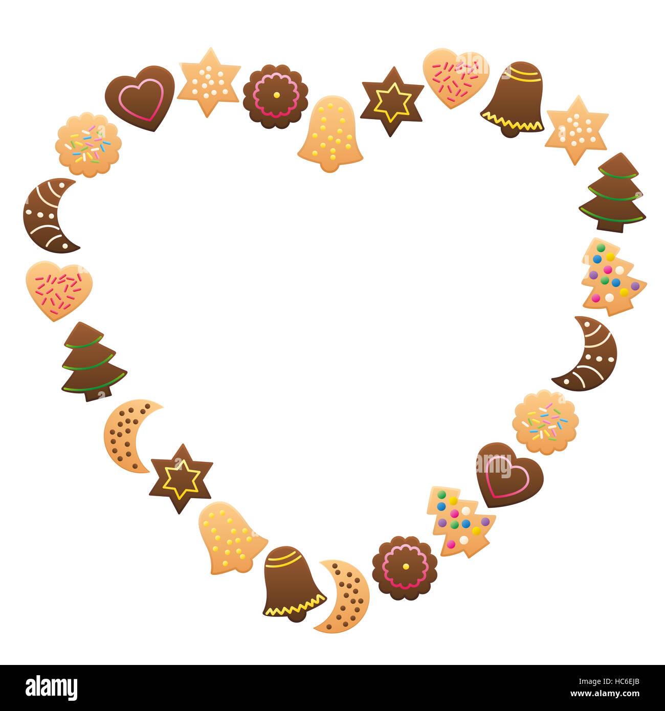 Christmas cookies and gingerbread forming a heart shaped frame Stock ...