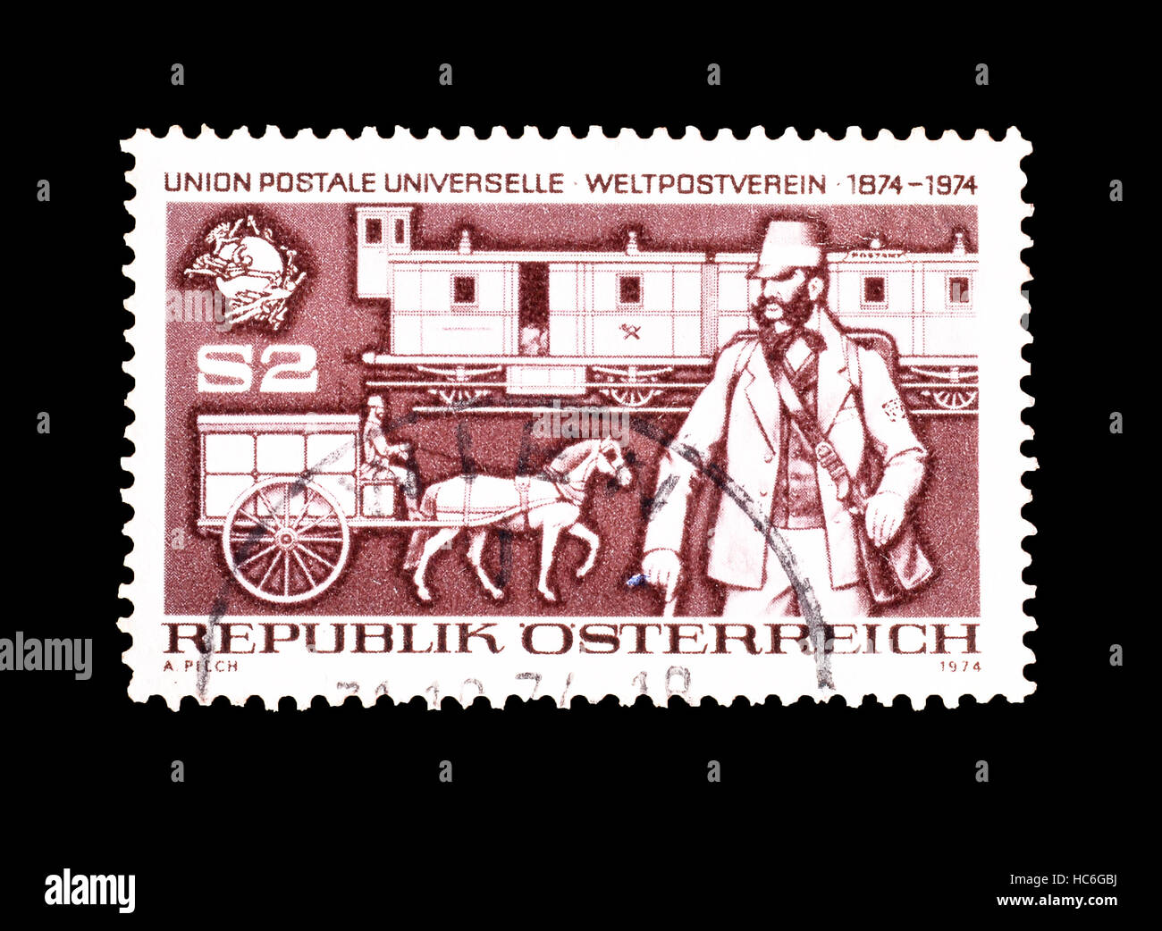 Austria Stamp 1974 Stock Photo 127993030