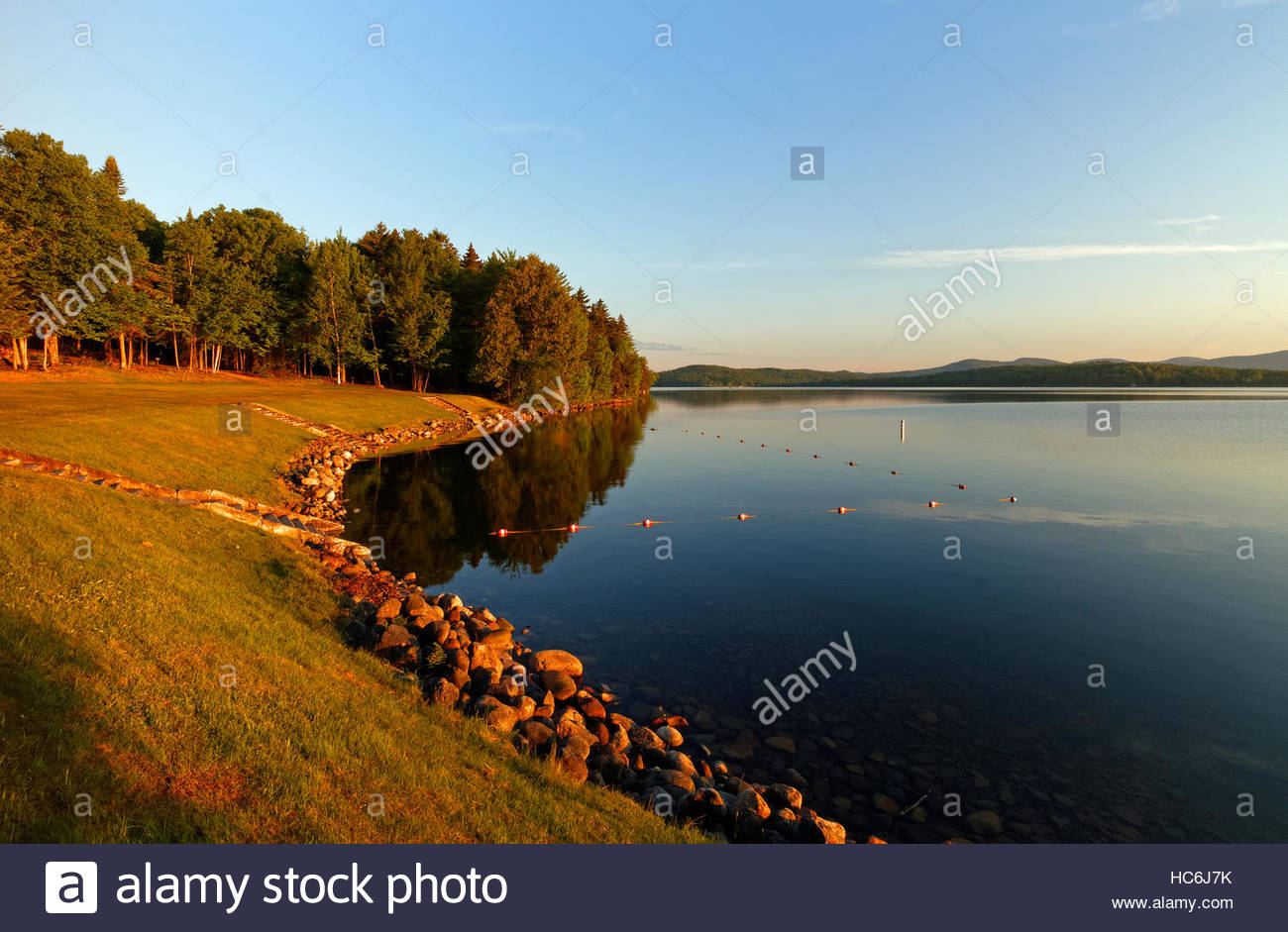 View of the swimming area at Rangeley Lakes State Park, Maine, USA. - Stock Image
