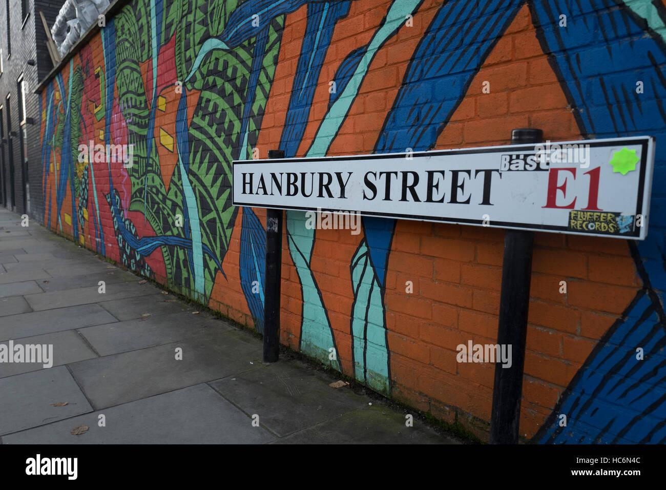 Hanbury Street London E1 street sign in Tower Hamlets - Stock Image