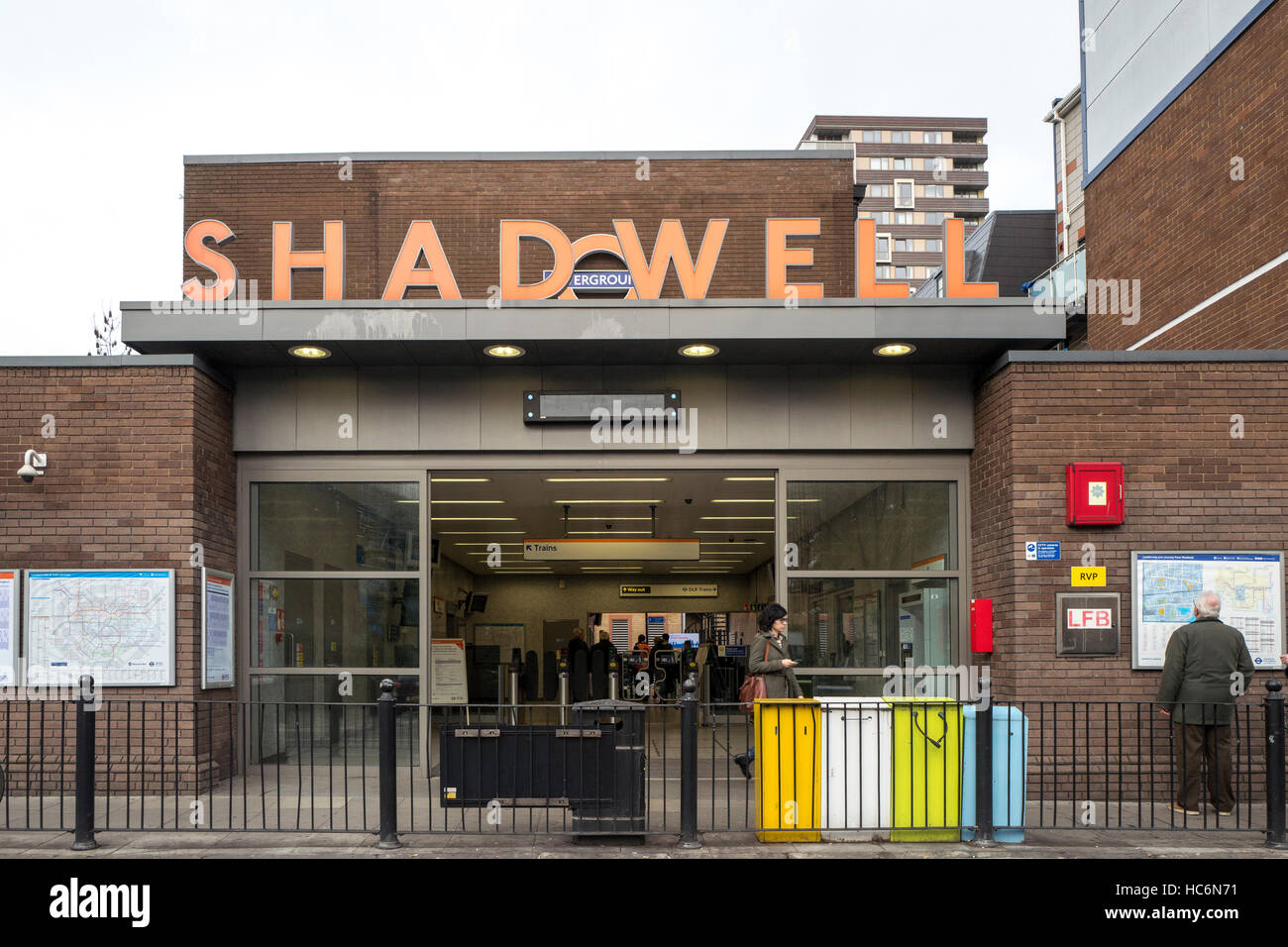 Shadwell Overground Station Cable Street entrance London - Stock Image