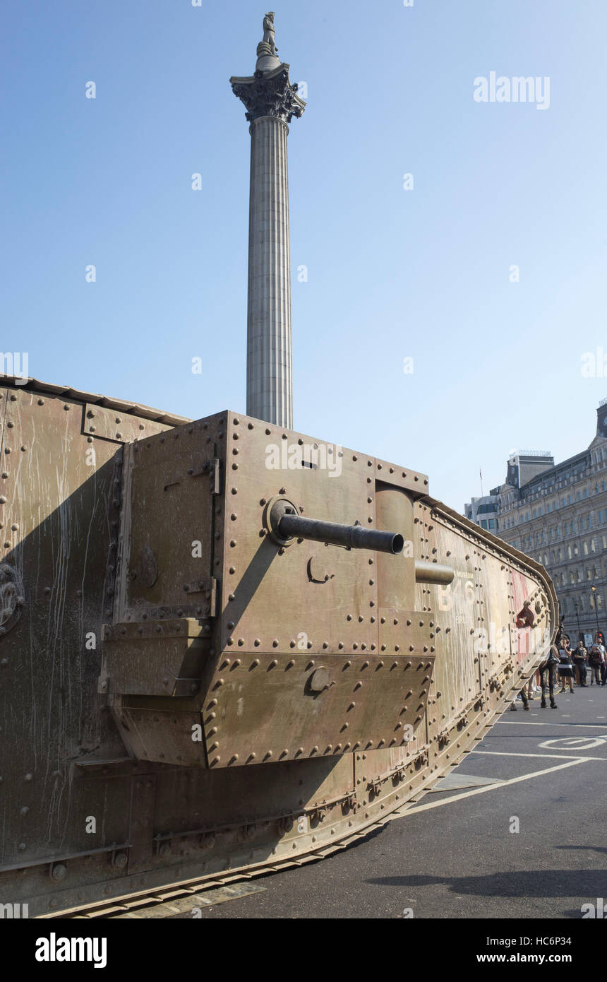 100th Anniversary of the Tank event in Trafalgar Square using replica tank in front of Nelson's Column September Stock Photo