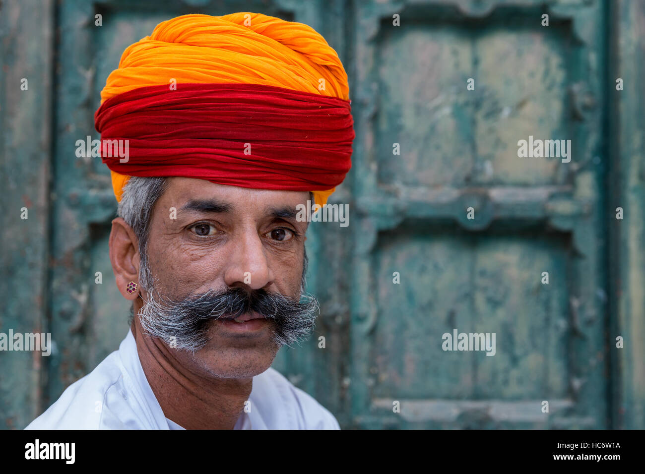 Portrait of Rajasthani dressed in traditional clothes, Jodhpur, Rajasthan, India - Stock Image