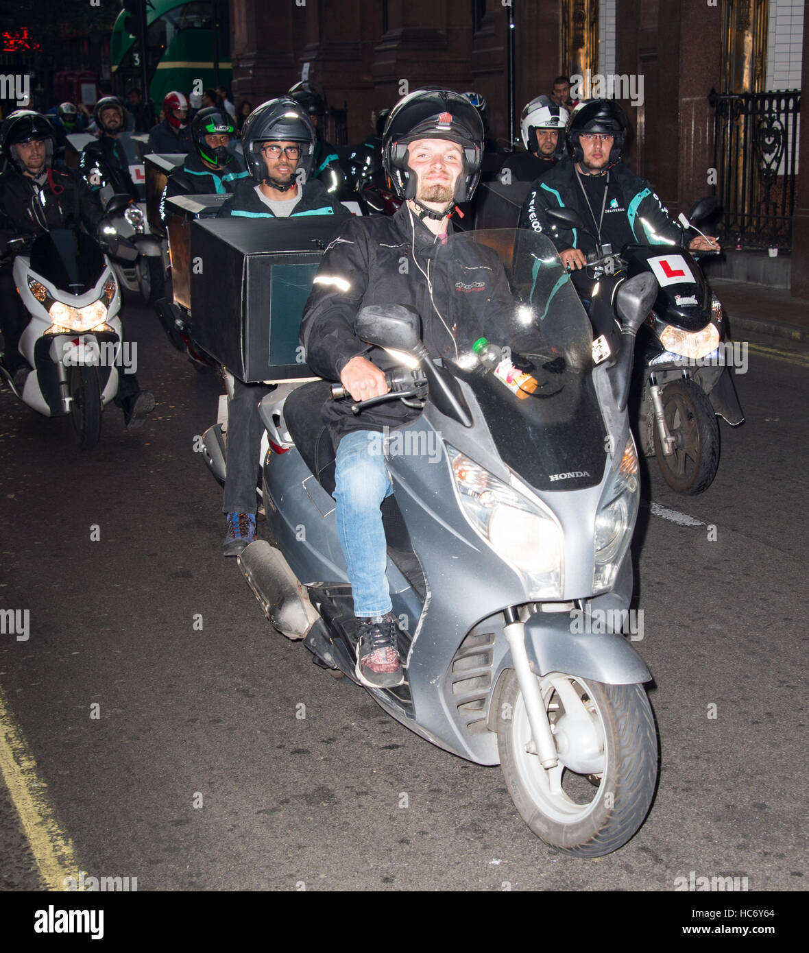 Deliveroo Riders protest in London over new pay structure  Featuring: Deliveroo Riders Where: London, United Kingdom - Stock Image