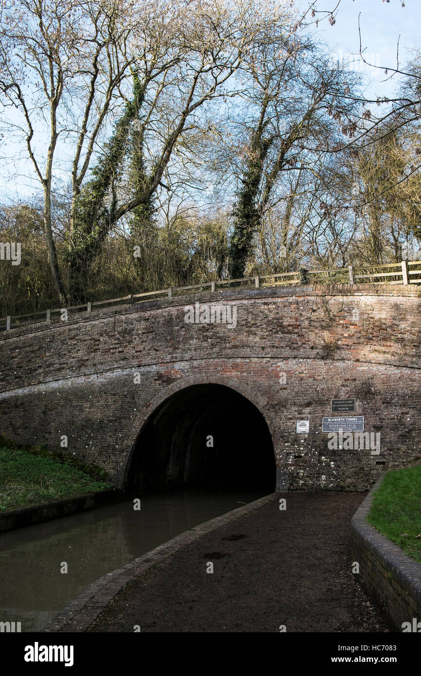 A view of the entrance of the Blisworth tunnel south portal near Stoke Bruerne, Northamptonshire - Stock Image