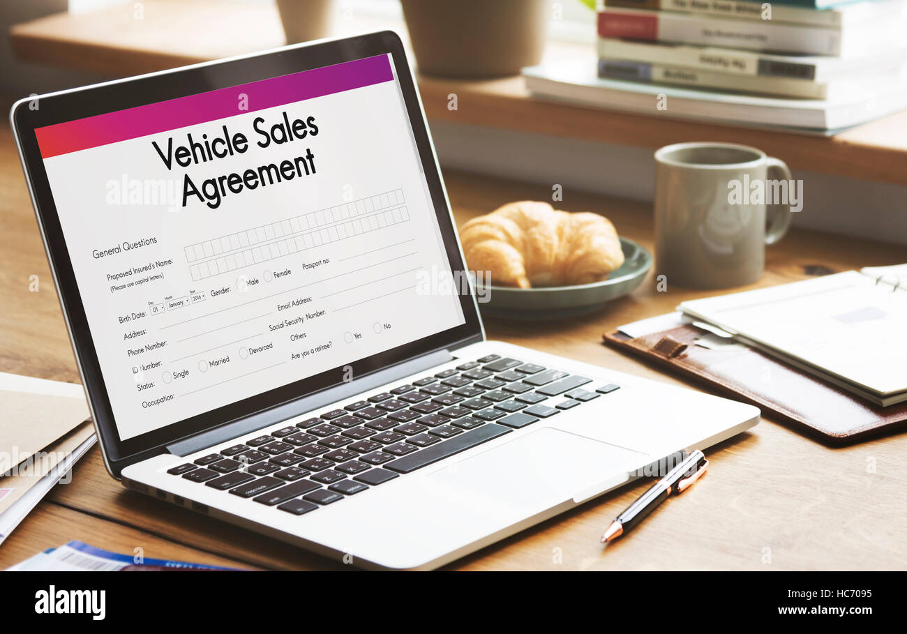 vehicle sales agreement form concept stock photo 128002369 alamy