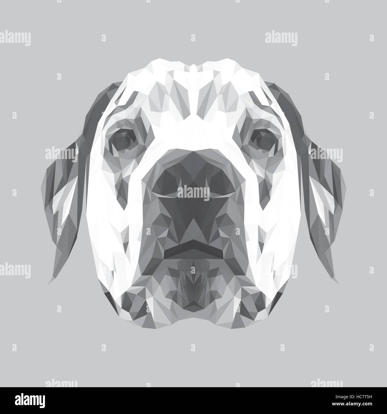 Dalmatian dog low poly design. Triangle vector illustration - Stock Vector