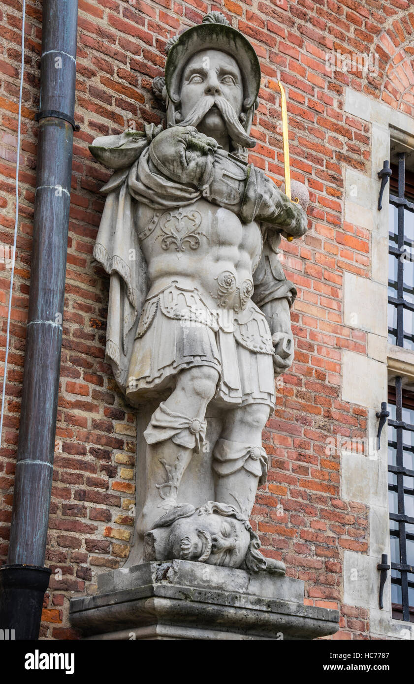 Poland, Pomerania, Gdansk (Danzig), archaic warrior statue at the Great Arsenal - Stock Image