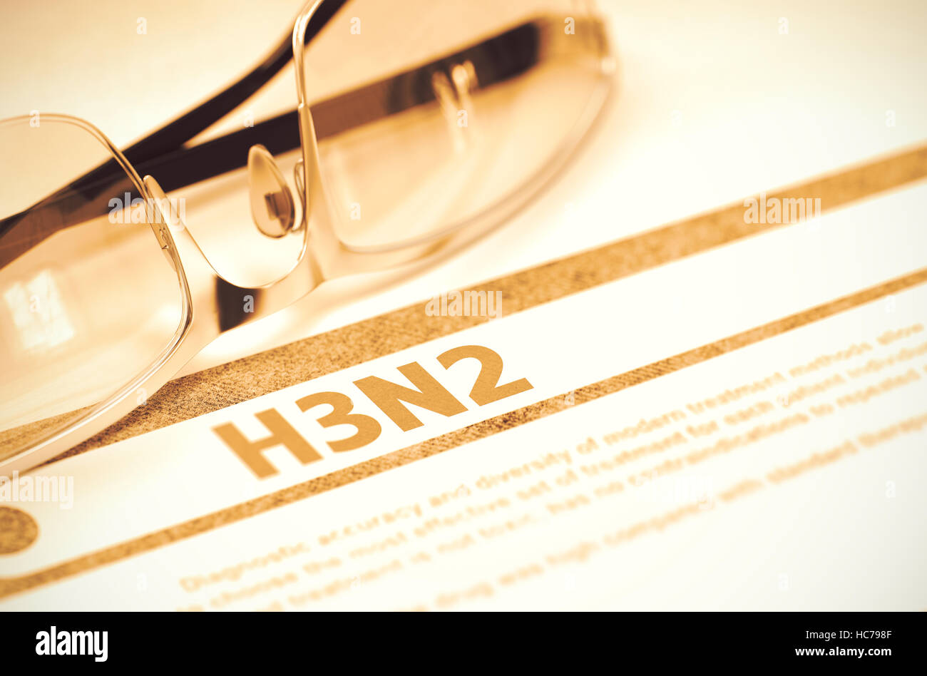 H3N2 - Printed Diagnosis on Red Background. 3D Illustration. - Stock Image