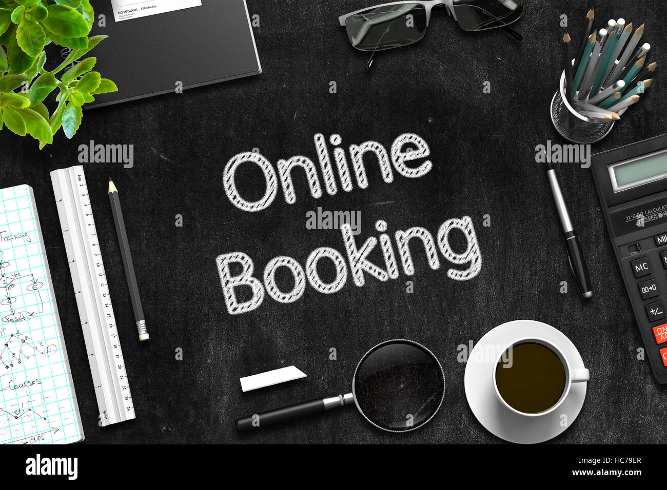 Online Booking Concept on Black Chalkboard. 3D Rendering. - Stock Image
