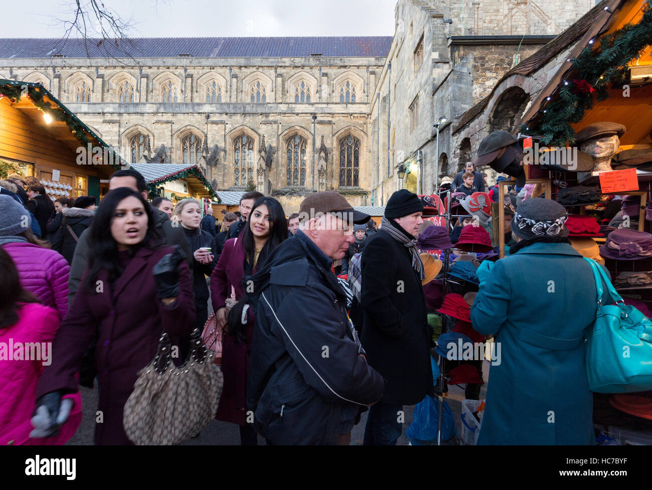 Crowds of people at Winchester Christmas market, Winchester Hampshire England UK - Stock Image