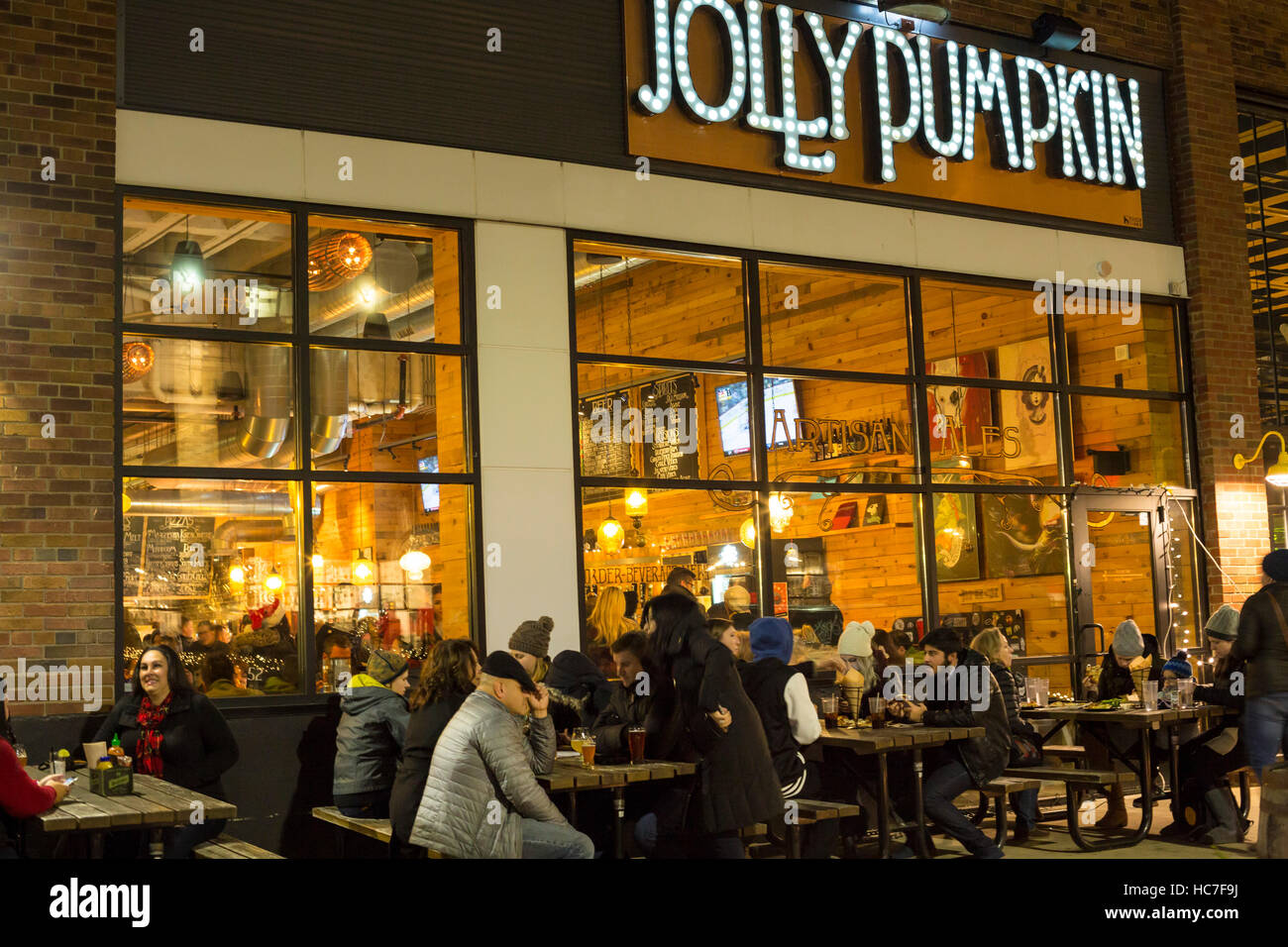 Detroit, Michigan - The Jolly Pumpkin tavern during Noel Night, the start of the holiday season in Detroit. - Stock Image