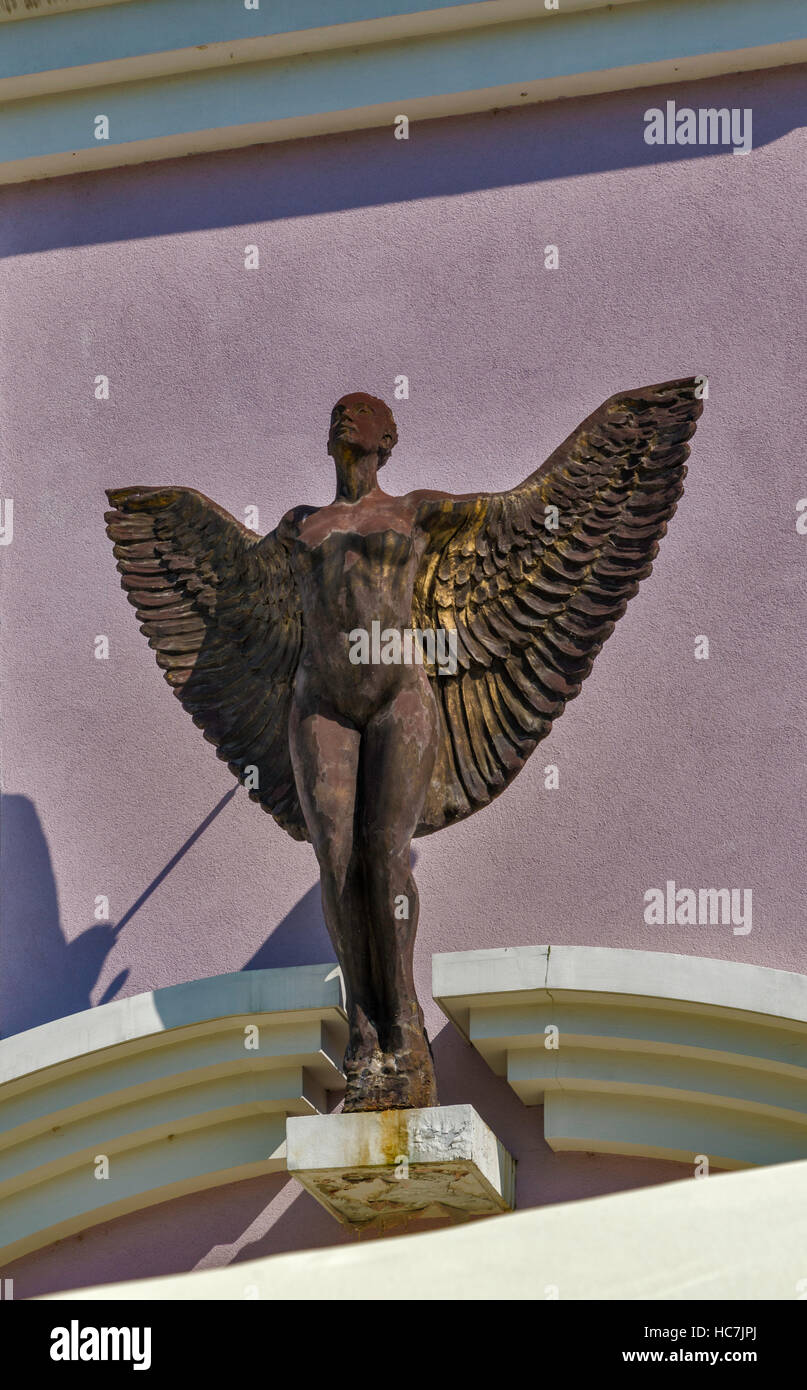 Statue of winged woman at Marianske namestie in Zilina, Slovakia - Stock Image